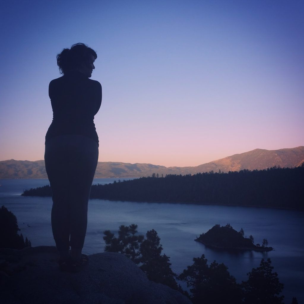 Looking out over Lake Tahoe at sunset in California.
