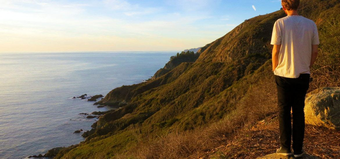 Looking out over Big Sur, California at Sunset