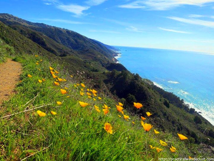 Hiking in Big Sur, California looking out over the Pacific Coast Highway. One of the best hikes near San Francisco!