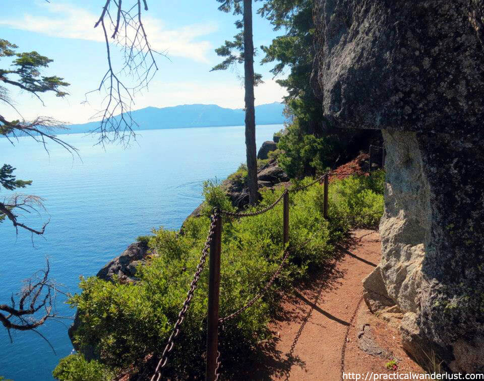 Hiking the Rubicon Trail on the granite cliffs high above Lake Tahoe, one of the my favorite hikes near San Francisco.