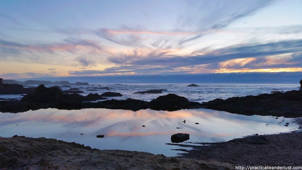 Sunset setting over Glass Beach in Fort Bragg. Fort Bragg and nearby Mendocino are two of the best weekend trips near the San Francisco Bay Area.
