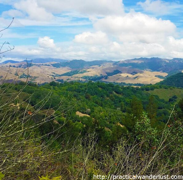 Hiking on the West Ridge Trail in Oakland with a view of the Santa Cruz Mountains. Turn around and you can see the whole San Francisco Bay Area!