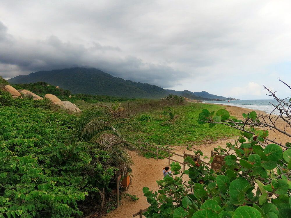 Hiking the coast of Parque Tayrona, Colombia.