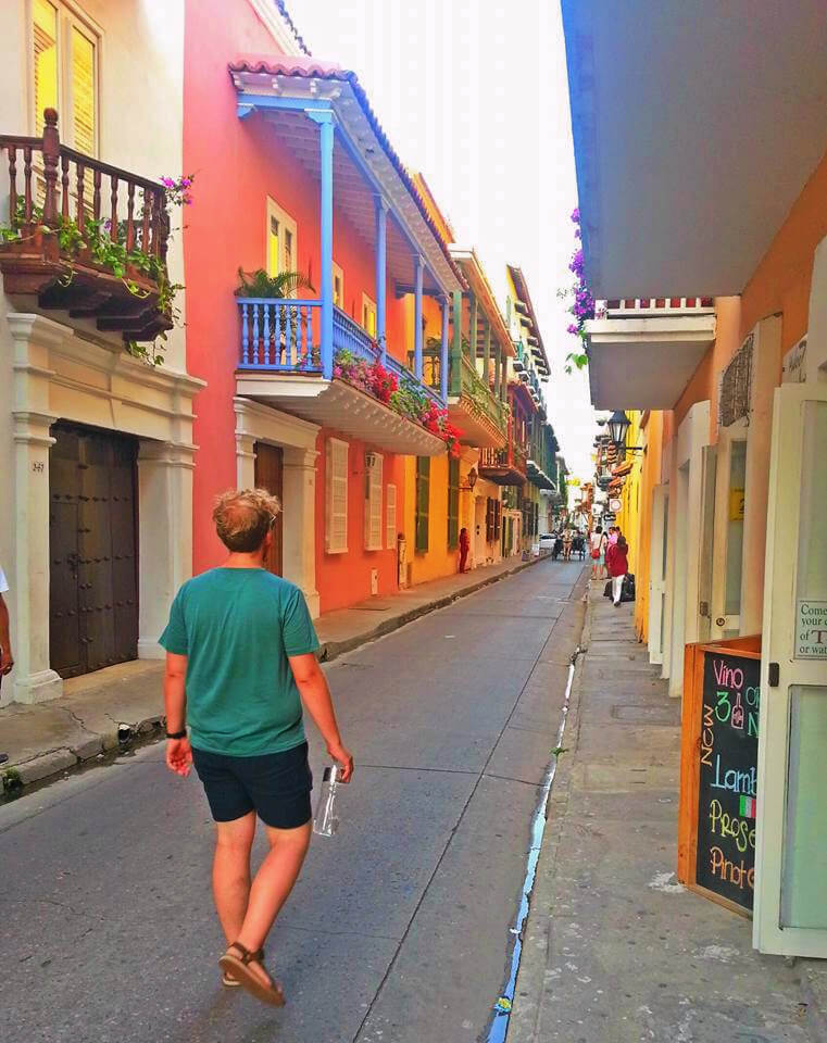 Exploring an uncharacteristically empty street in the old Walled City of Cartagena, Colombia.