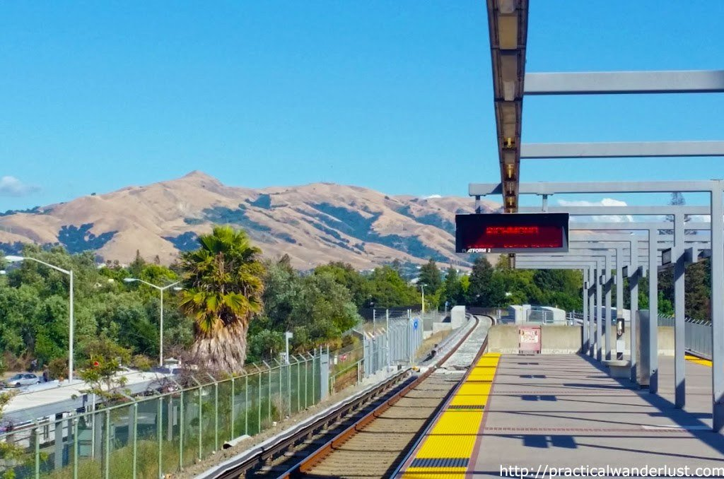 View of the Santa Cruz Mountains from the Fremont Bart station in the San Francisco Bay Area.