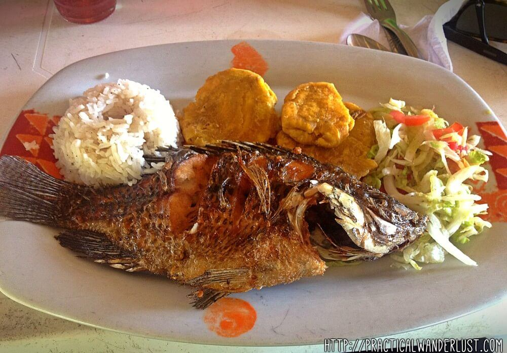 This incredibly fresh  fried whole snapper was served to us in the tiny fishing town of La Boquilla, Cartagena. It looks intimidating, but it was delicious! With fried plantain and coconut rice.