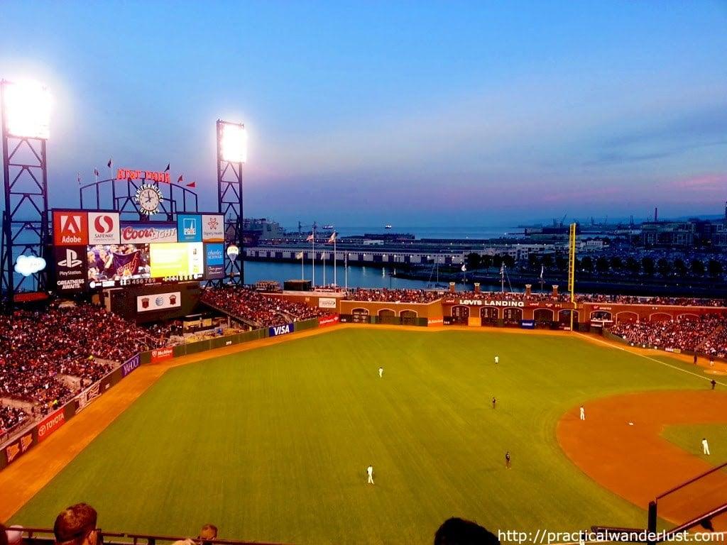 The Giants playing baseball AT&T Park at sunset, San Francisco, California.