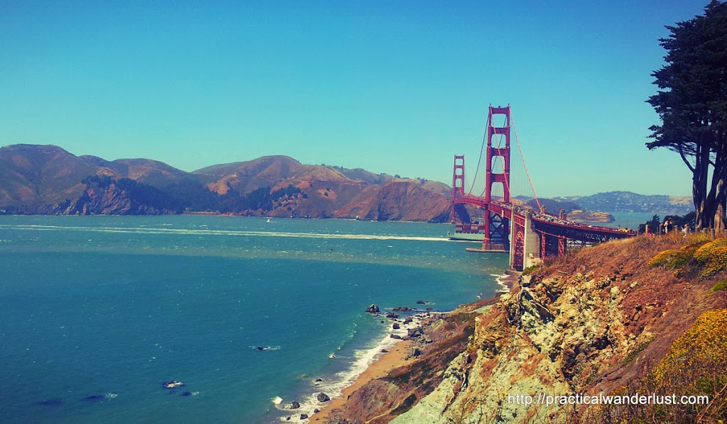 The Golden Gate Bridge from the Batteries to Bluffs trailhead, in San Francisco, California.