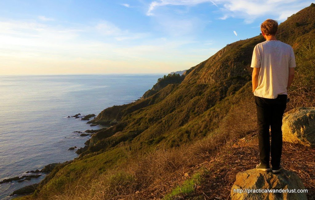 Looking out over Big Sur, California at sunset. Big Sur is a great weekend trip from the San Francisco Bay Area.
