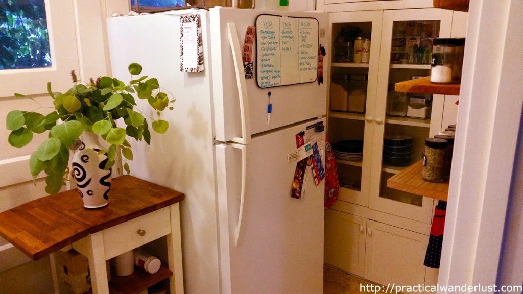 Tiny kitchen with eucalyptus leaves, wood furniture in Rockridge, Oakland, in the San Francisco Bay Area.