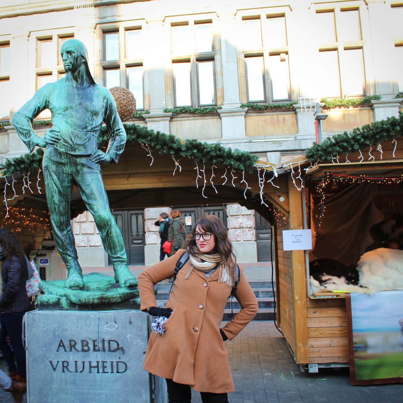 Lia and the most fabulous statue we've ever seen in Antwerp, Belgium.