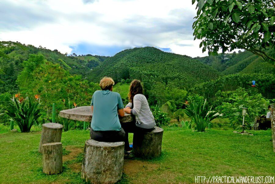 Looking out over the stunning view after our Colombia coffee farm tour at Finca el Ocaso in Salento, Colombia.