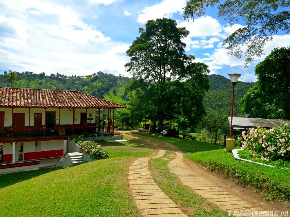 A picturesque coffee farm in Salento, deep within Colombia's scenic coffee region. To get to Salento, we took a 12-hour bus ride from Medellin. Read more about transportation in Colombia in our traveler's guide.