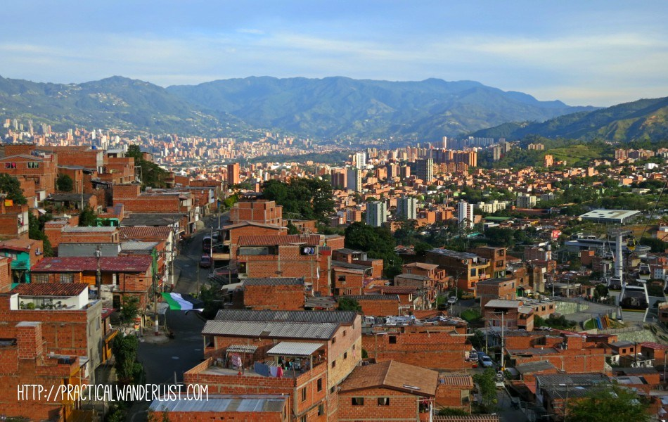 Sprawling metropolitan Medellin, Colombia. Medellin offers loads of options for transportation in Colombia, from a subway to hilltop gondola rides! Read more about transportation in Colombia in our traveler's guide.