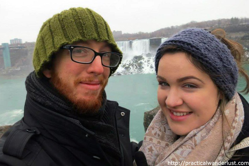 Jeremy and Lia from Practical Wanderlust at Niagara Falls.