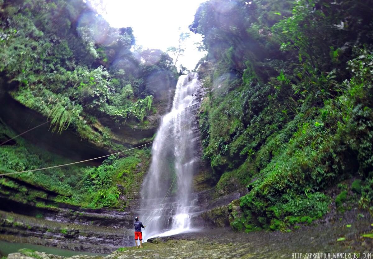 Being rescued while rappelling down the Juan Curi Waterfall in the adventure sports town of San Gil, Colombia.