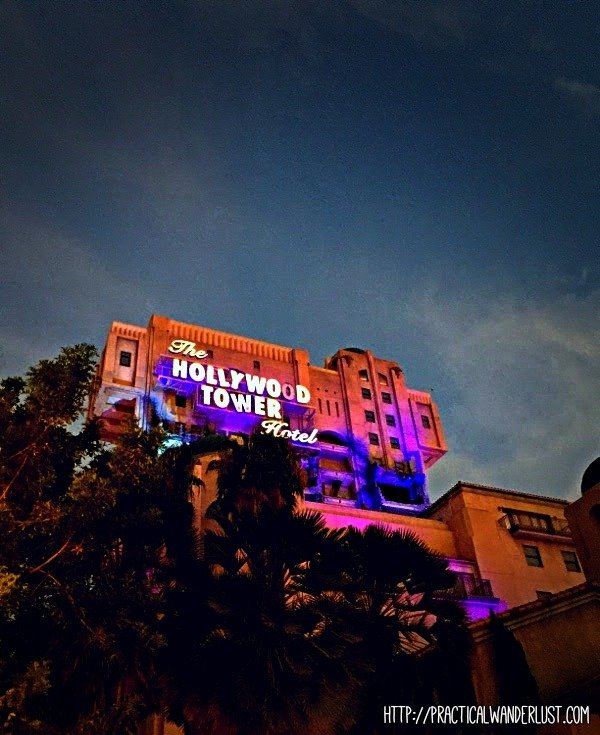 Tower of Terror, a Disney classic ride, at dusk.