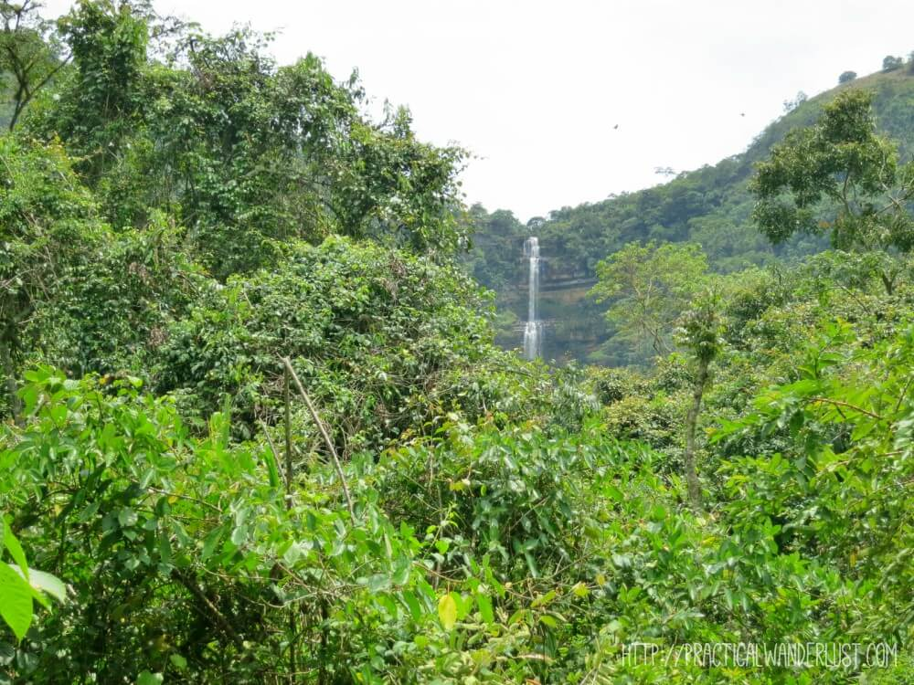 Juan Curi Waterfall in San Gil, Colombia, a popular waterfall for repelling and other adventure sports. Which I tried. It went badly.