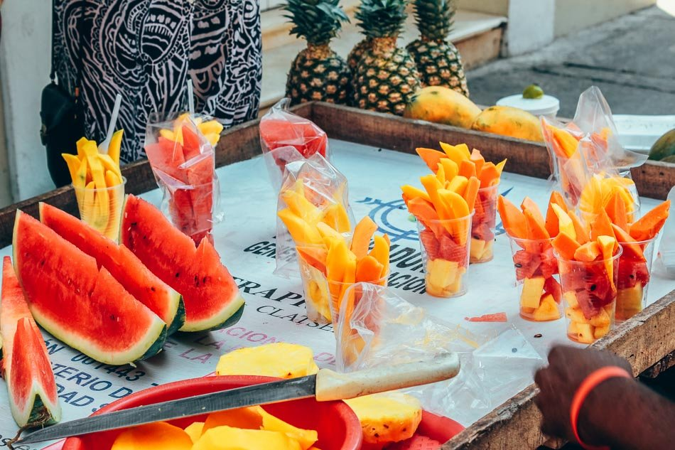 Cart with Fresh Fruit Slices in Cartagena Colombia