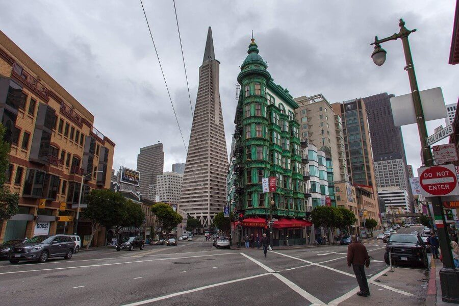 The Sentinel Building and the Transamerica Pyramid in San Francisco, California.