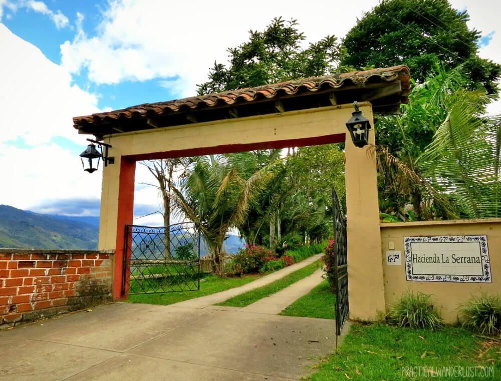 The inviting entrance of La Serrana Hostel in Salento, Colombia!