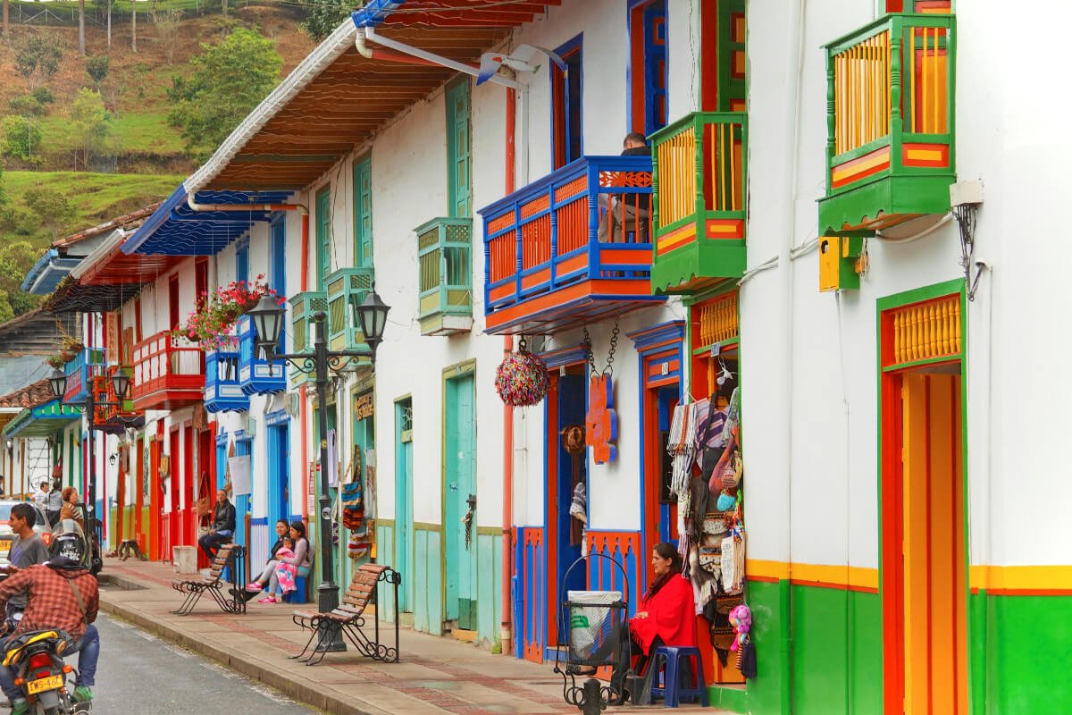Colorful downtown Salento, Colombia.