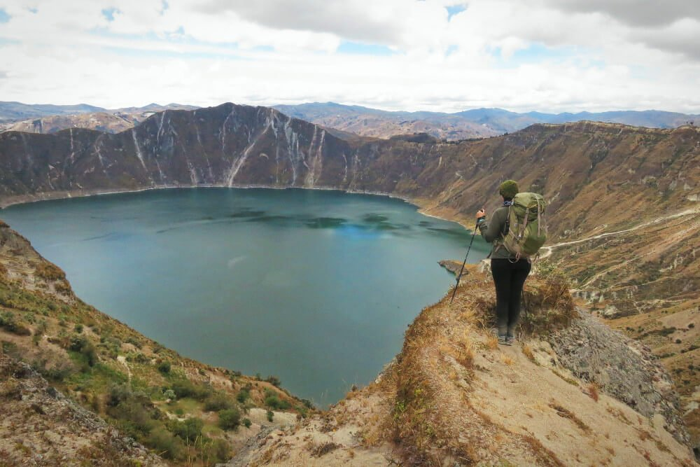 The Quilotoa Lake in Quilotoa, Ecuador, part of the Quilotoa Loop.
