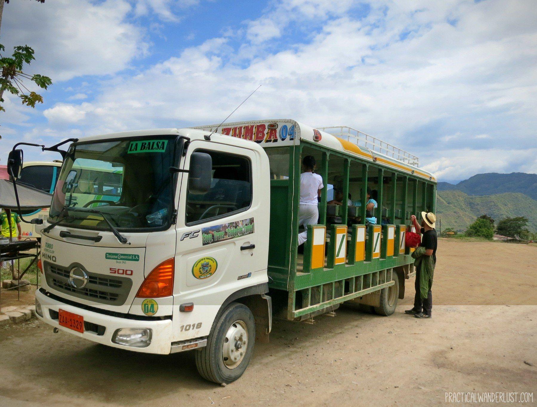 The bumpy Ranchero ride is an adventurous necessary evil to get from Ecuador to Peru via the La Balsa Border Crossing.