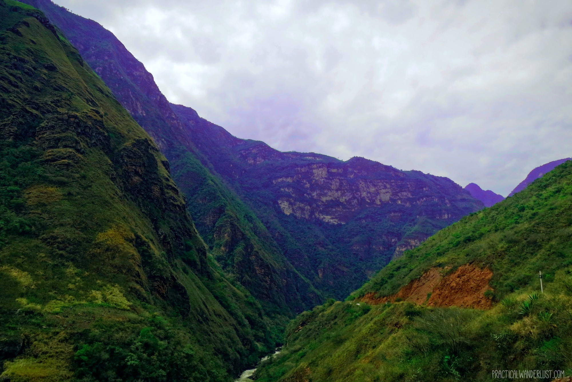 The winding mountain road in the Andes from Ecuador to Peru on the La Balsa Border Crossing