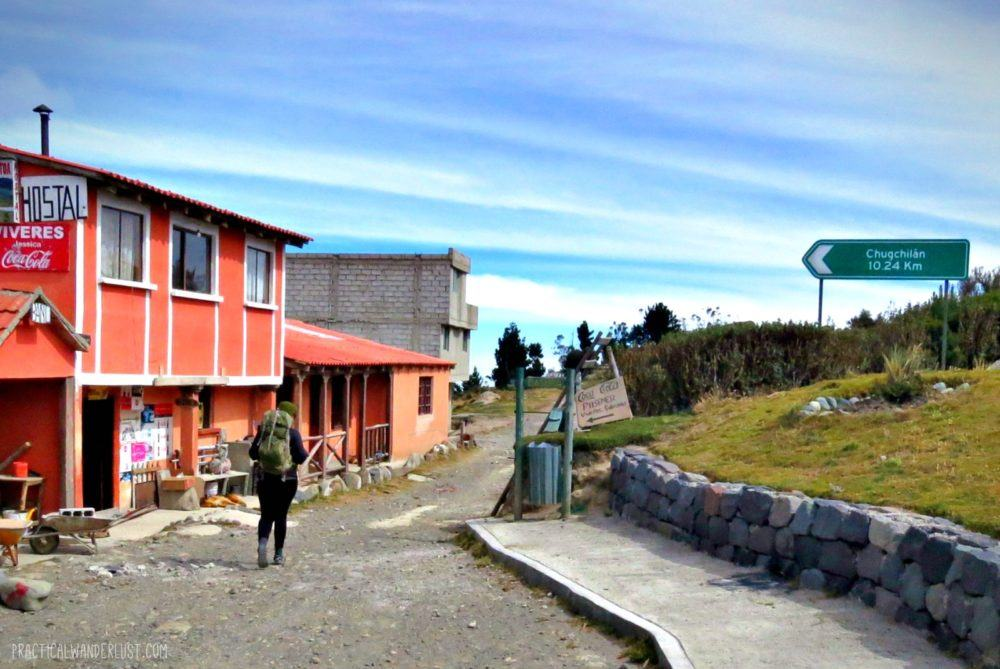 Starting to hike the Quilotoa Loop from Quilotoa to Chugchilan, in Ecuador.