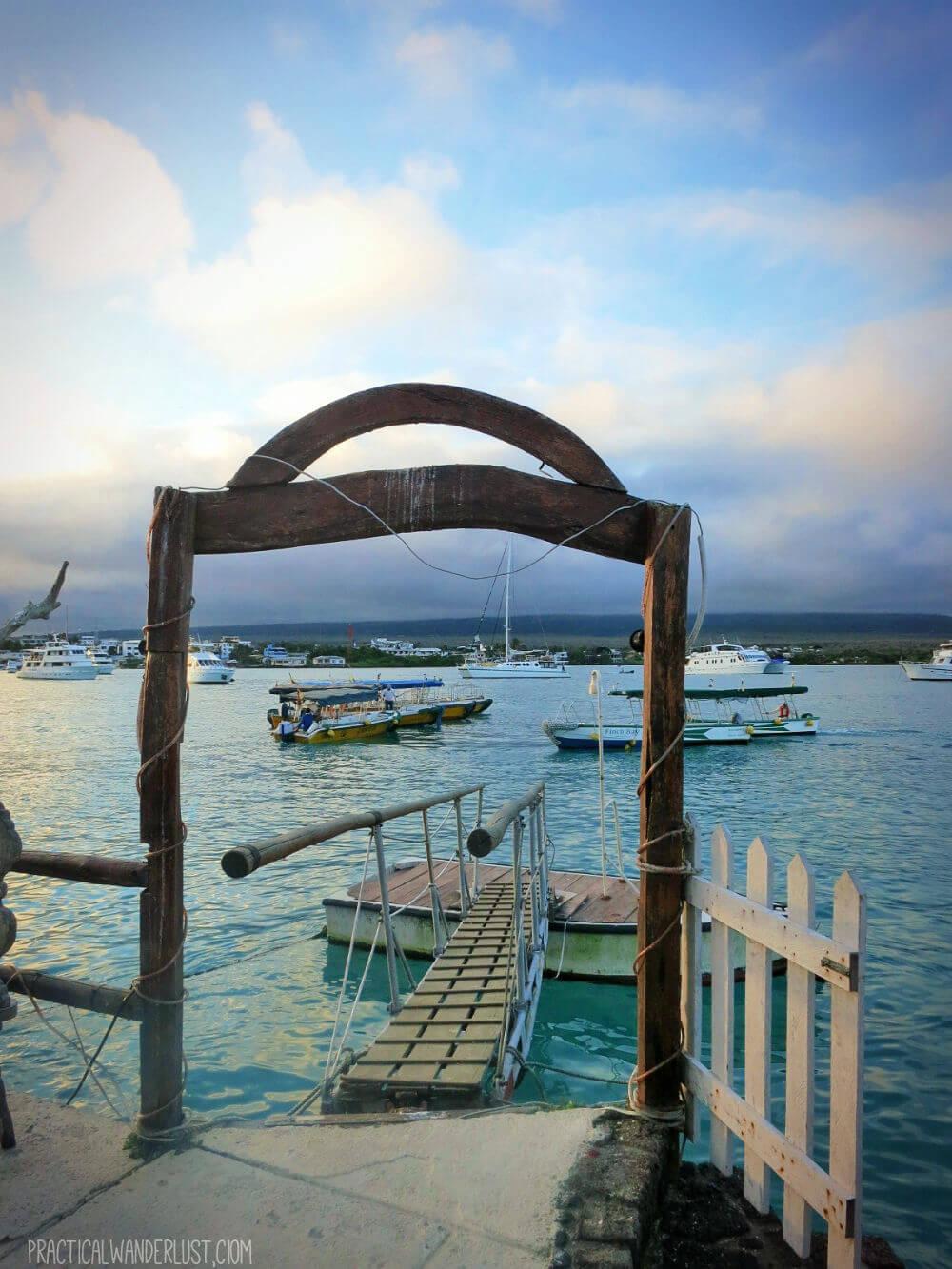 The dock leading to and from Punta Estrada and Las Grietas on Santa Cruz Island, at twilight!The dock leading to and from Punta Estrada and Las Grietas on Santa Cruz Island, at twilight!. The Galapagos Islands, Ecuador.