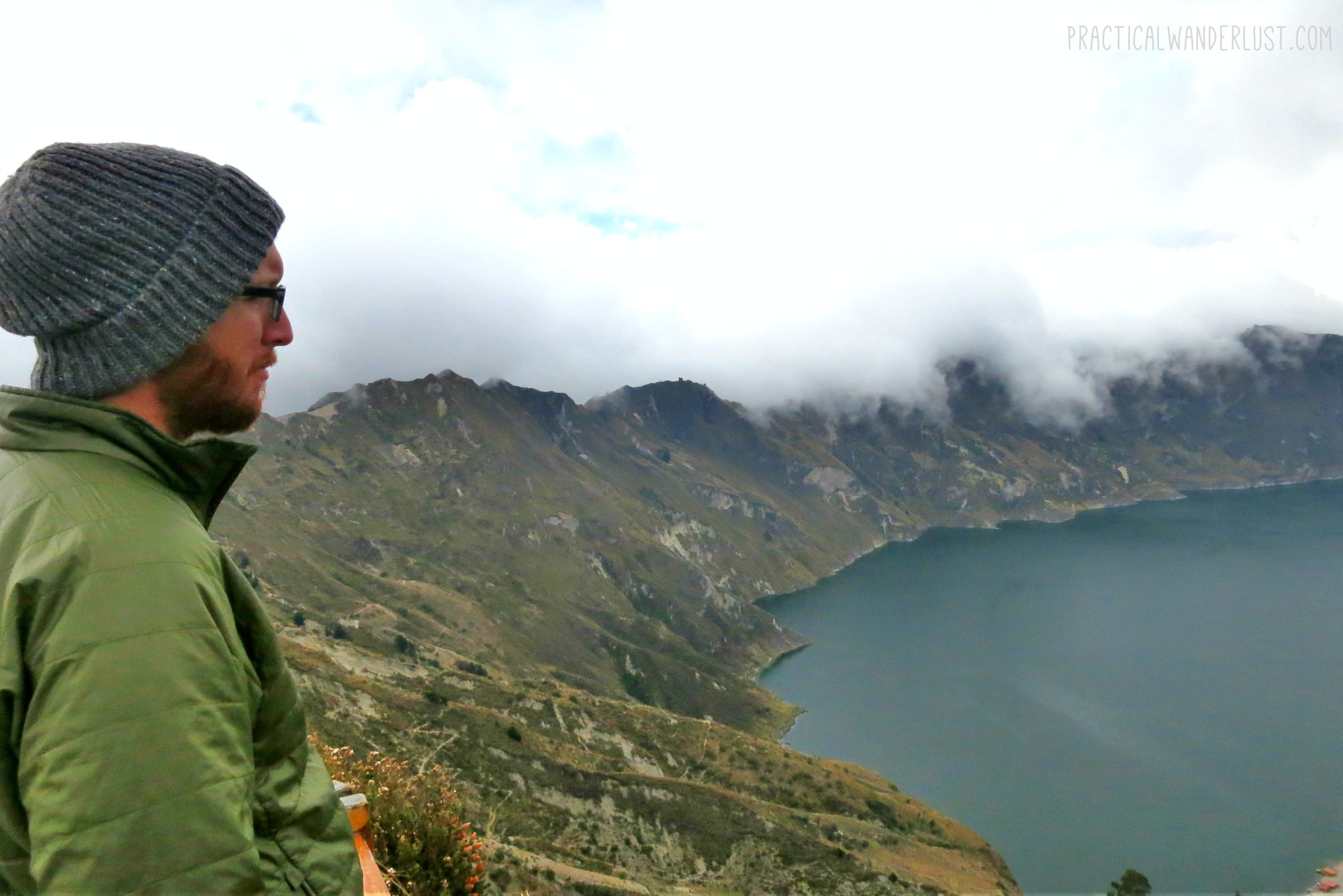The Quilotoa Lake on the Quilotoa Loop in Ecuador.