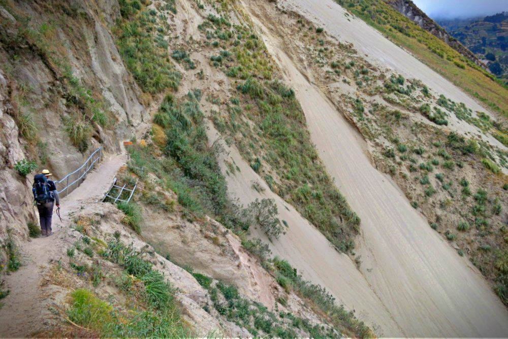 The landslide destroyed a section of the trail on the Quilotoa Loop hike in Ecuador.