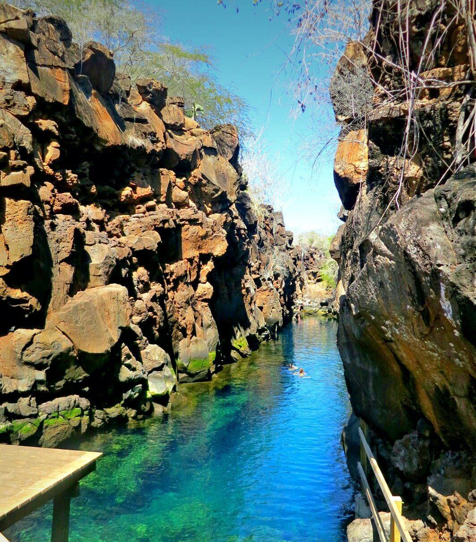Self guided visit to Las Grietas, near Punta Estrada, in Puerto Ayora, Santa Cruz Island, Galapagos, Ecuador. Read our complete guide to the Galapagos without a cruise!