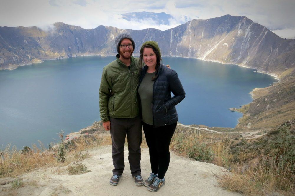 Packing Tip #1: Try not to accidentally pack all-matching clothing with your partner. Like, how did we do this? at Quilotoa Lake in Ecuador.