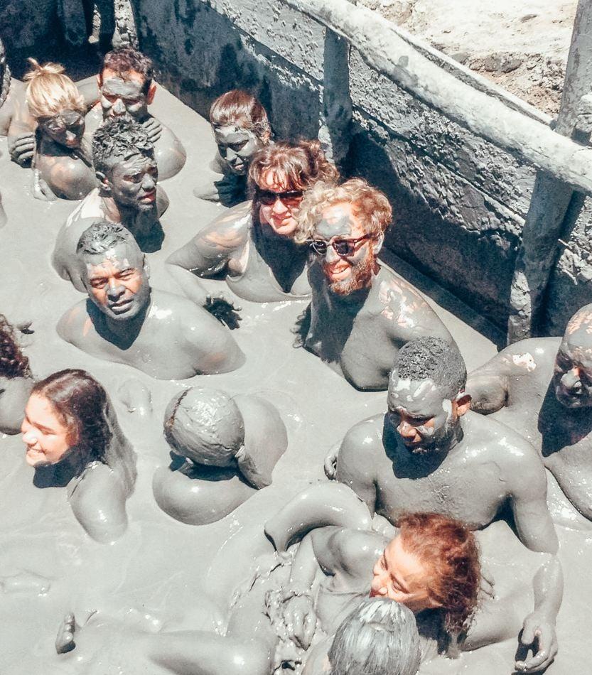 Inside the mud volcano in Cartagena