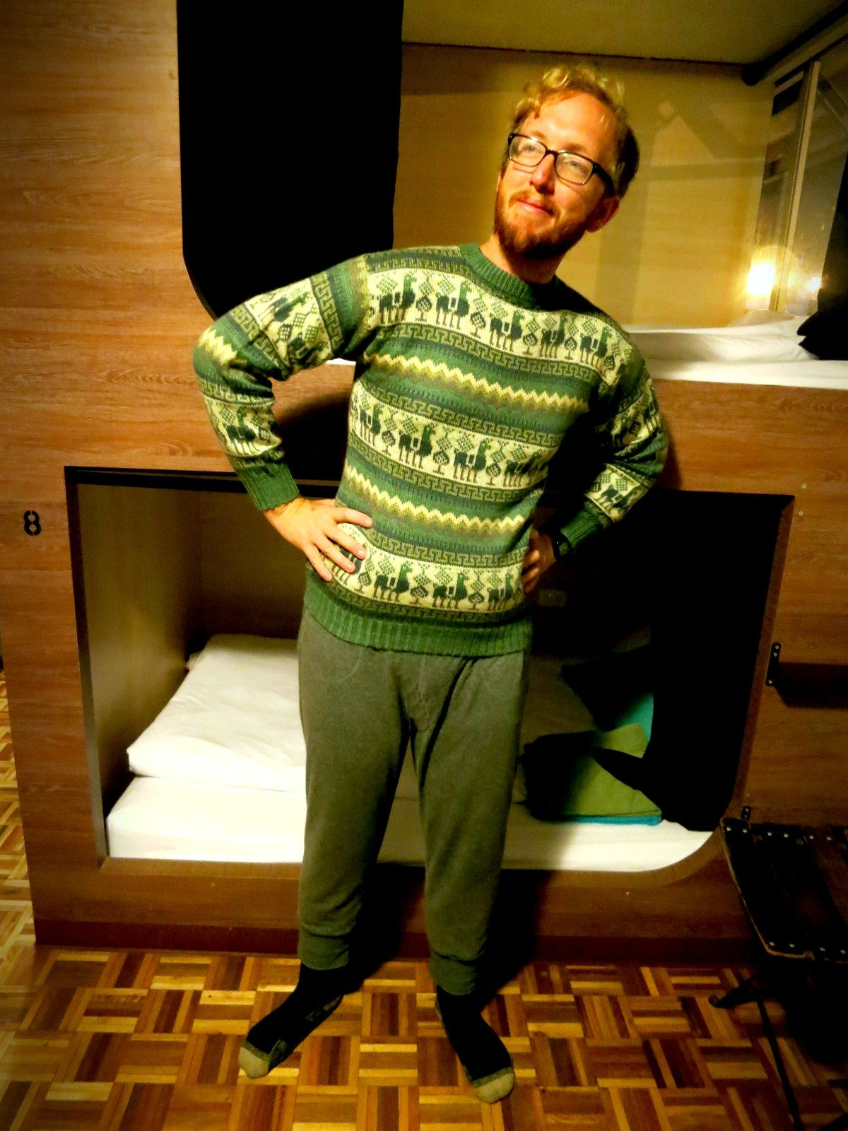 Approximately .05 seconds after we return to our hostel, this is what we look like: cozy alpaca sweater. Sweatpants. Socks. Comfy AF.