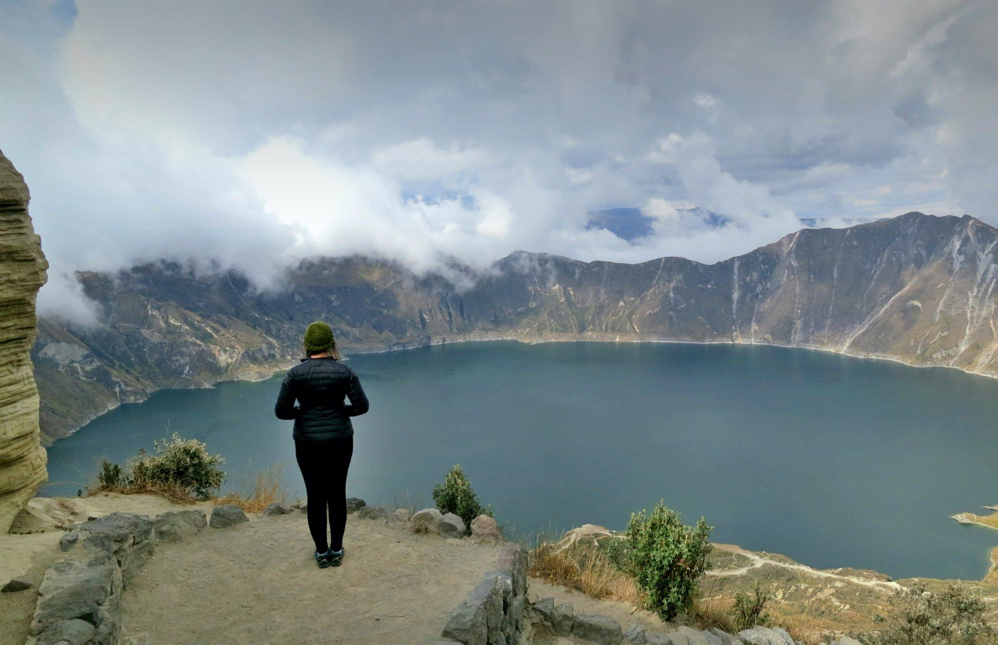 Looking out over beautiful Quilotoa Lake in the high Andes mountains in Ecuador.