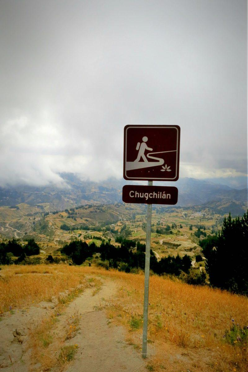 Sign for Chugchilan from Quilotoa on the Quilotoa Loop in Ecuador.