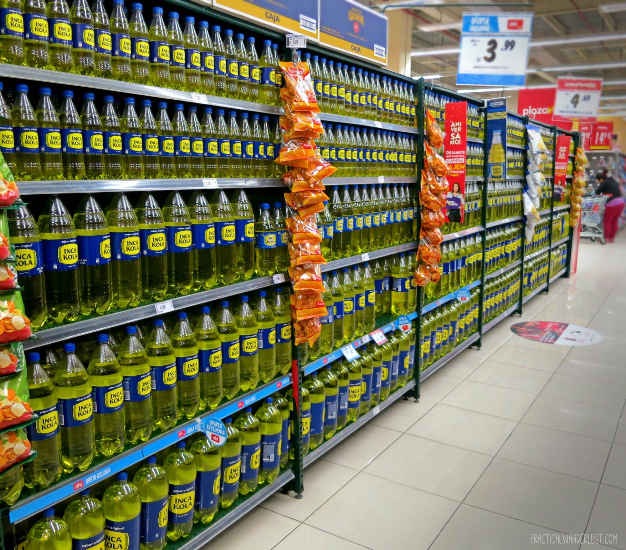 A supermarket aisle in Arequipa filled with Inca Kola. Peru is obsessed with Inca Kola! It's one of the things nobody told us about backpacking in Peru!A supermarket aisle in Arequipa filled with Inca Kola. Peru is obsessed with Inca Kola! It's one of the things nobody told us about backpacking in Peru!