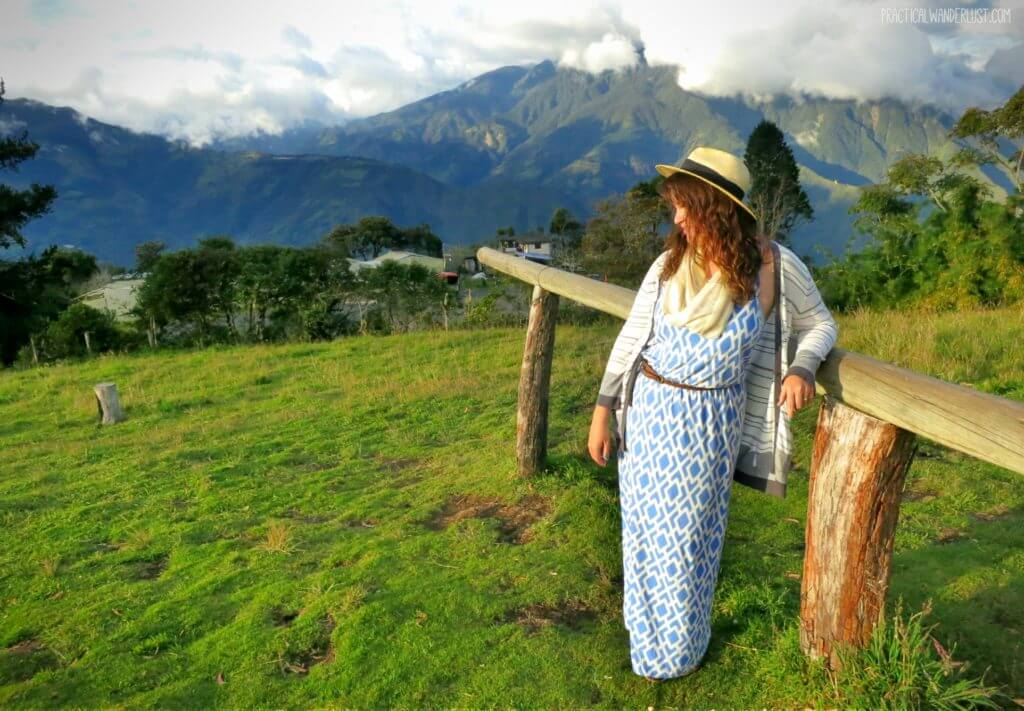 Just doing a ~casual lean~ in Banos, Ecuador! Read all about our tips for looking your best while traveling in the Ultimate Guide to Makeup and Beauty for Backpackers.