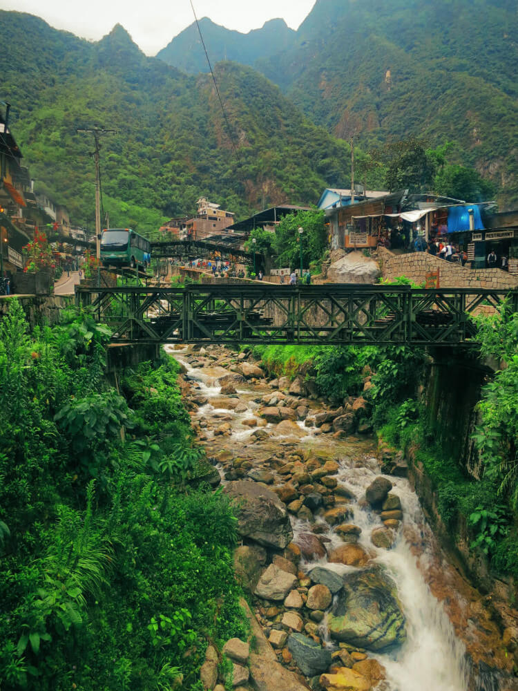 Aguas Calientes, the touristy town just outside of Machu Picchu, Peru, blanketed in rain.