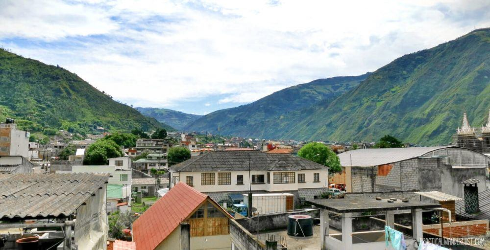 The view of Banos de Agua Santa from our hostel's roof! The entire town is absolutely stunning, with mountain views and waterfalls everywhere you turn.