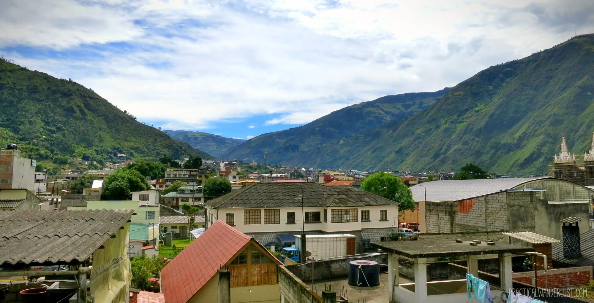 Looking out over the town of Baños, Ecuador from the rooftop cafe at Hostel Chiminea.