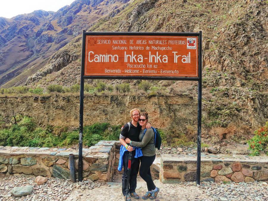 Hiking Machu Picchu at the beginning of the Inca Trail in Peru.