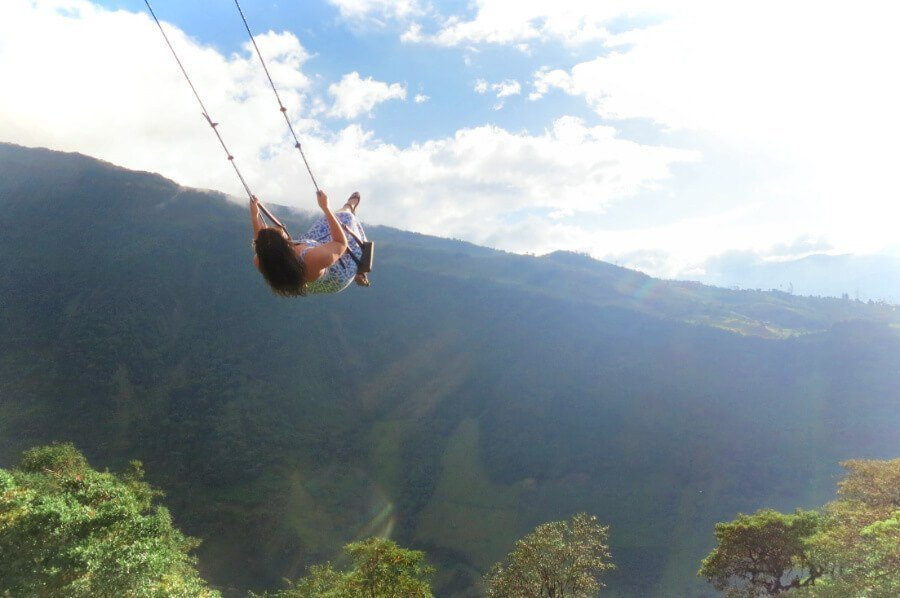 The famous Swing at the End of the World is at Casa Arbol in Banos, Ecuador!