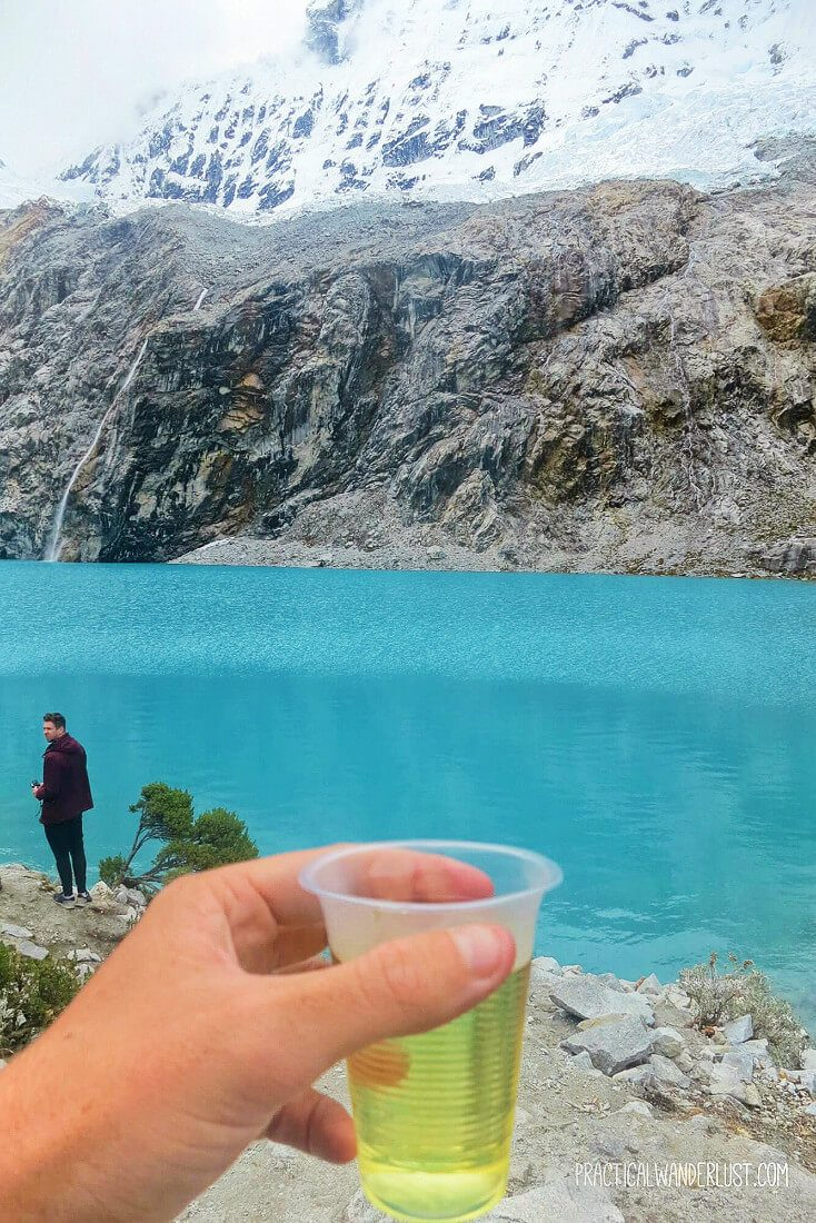 Coca tea to help with the high altitude on the Laguna 69 hike in the Cordillera Blancas in Huaraz, Peru.