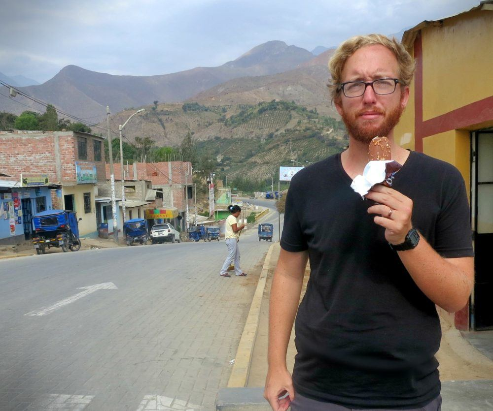 Eating lúcuma ice cream in Peru! Lúcuma is our favorite flavor! Nobody told us about it before we went backpacking in Peru.
