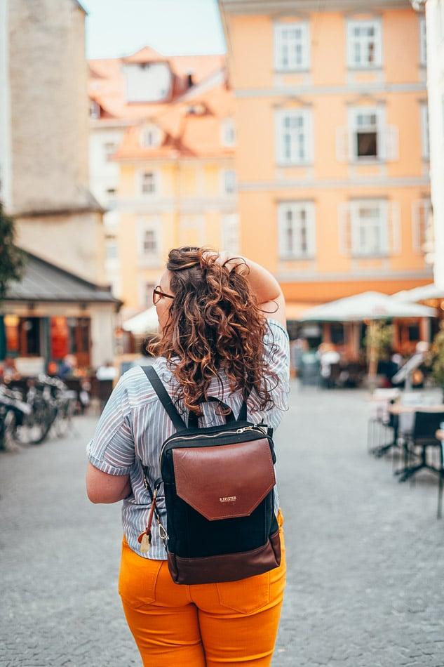 Lia with curly hair in Graz, Austria.