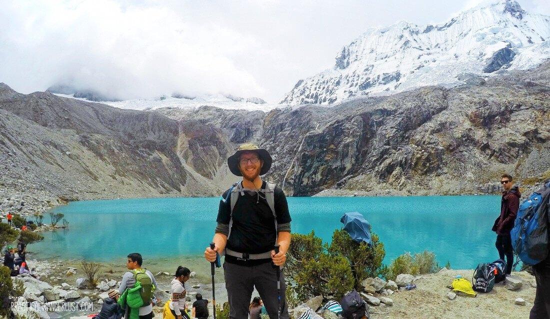 Celebrating my high altitude hiking victory on the Laguna 69 trek in Huaraz, Peru!